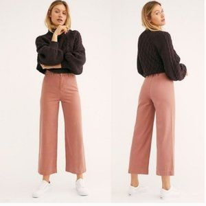 Free People Patti Cotton Cropped Pants in Rose